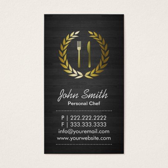 Chef Elegant Dark Wood Catering Business Card
