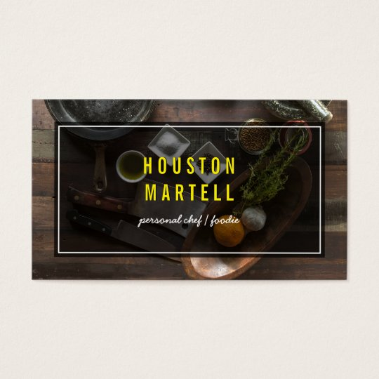 Chef Food Ingredients Business Card Custom Colour