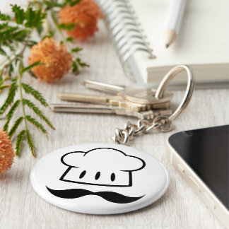Chef Gift Mustache for Dad Cook Man Fun Moustache Basic Round Button Key Ring