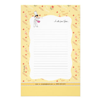 Chef Girl Cartoon Personalised Stationery