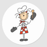 Chef Girl with Wooden Spoon Stickers