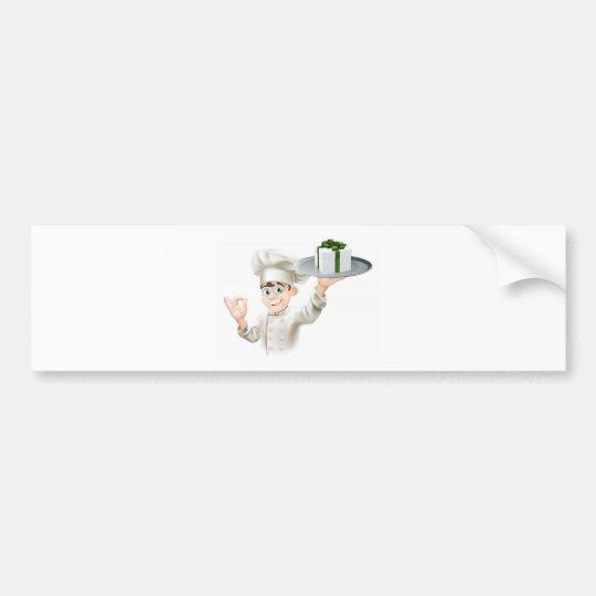 Chef giving gift bumper sticker