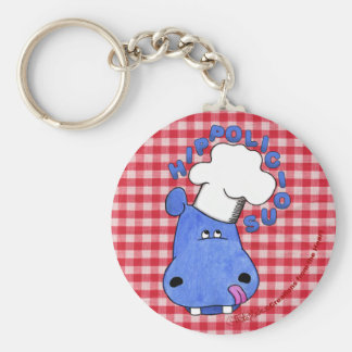Chef Hippo- Hippolicious Basic Round Button Key Ring
