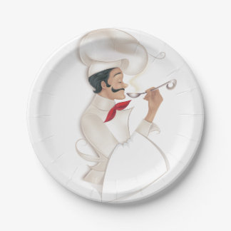 Chef illustration 7 inch paper plate