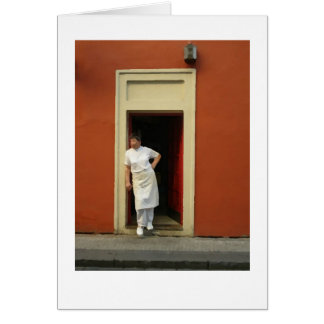 Chef in doorway prague dry brush for card