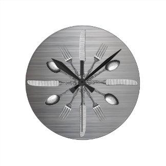 Chef Kitchen Utensils Faux Metal Steel Round Clock