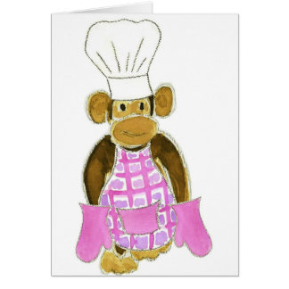 Chef Monkey Pink Greeting Card