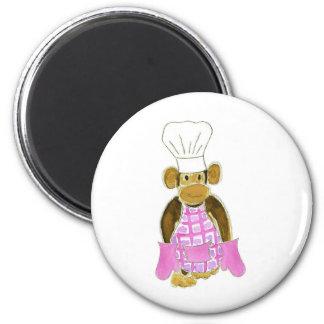 Chef Monkey Pink Refrigerator Magnets