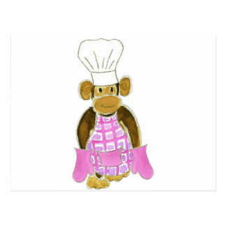 Chef Monkey Pink Postcard
