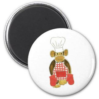 Chef Monkey Red 6 Cm Round Magnet