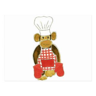 Chef Monkey Red Postcard