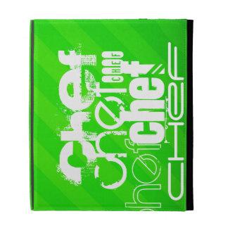 Chef; Neon Green Stripes iPad Folio Cover