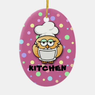 chef owl 2 ceramic oval decoration