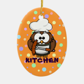 chef owl ceramic oval decoration