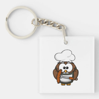 Chef Owl Ready To Barbeque Double-Sided Square Acrylic Key Ring