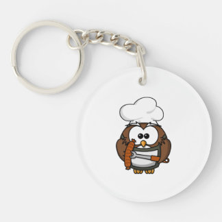 Chef Owl Ready To Barbeque Keychain