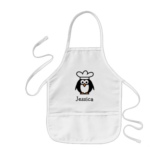 Chef penguin cartoon apron for kids | Personalise