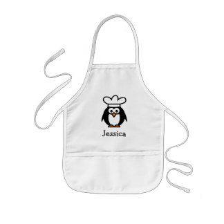 Chef penguin cartoon apron for kids | Personalize