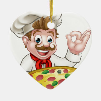 Chef Pizza Cartoon Character Mascot Ceramic Heart Decoration