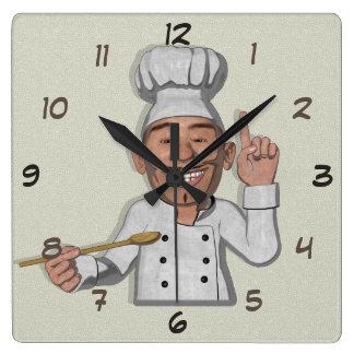 Chef Restaurant 2 Cartoon Style Square Wall Clock