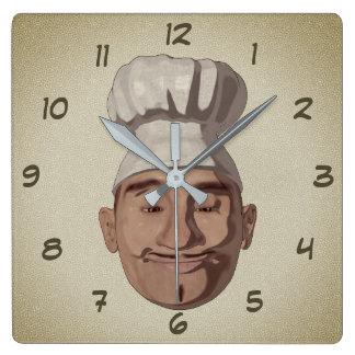 Chef Restaurant 3 Cartoon Style Square Wall Clock