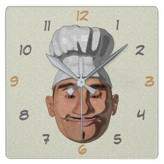 Chef Restaurant Cartoon Style Square Wall Clock