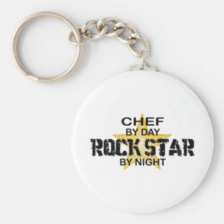 Chef Rock Star by Night Basic Round Button Key Ring