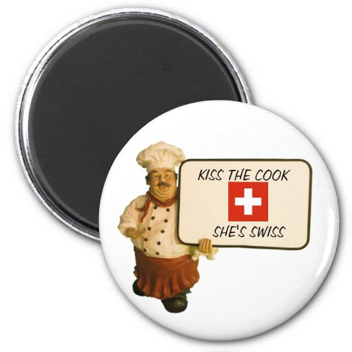 Chef Says Kiss The Cook Refrigerator Magnets