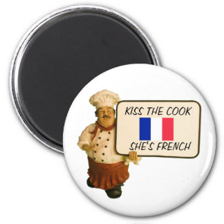 Chef Says Kiss The French Cook 6 Cm Round Magnet