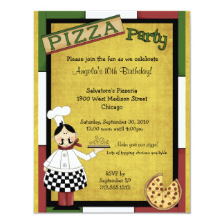 Chef Serving Hot Pizza Party Invitation