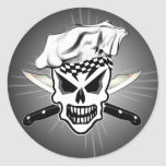 Chef Skull 2 and Crossed Chef Knives Round Sticker