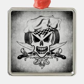 Chef Skull 2 Silver-Colored Square Decoration