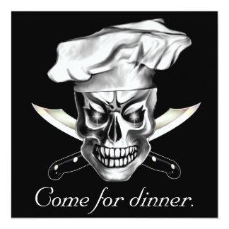 Chef Skull 3.1 13 Cm X 13 Cm Square Invitation Card