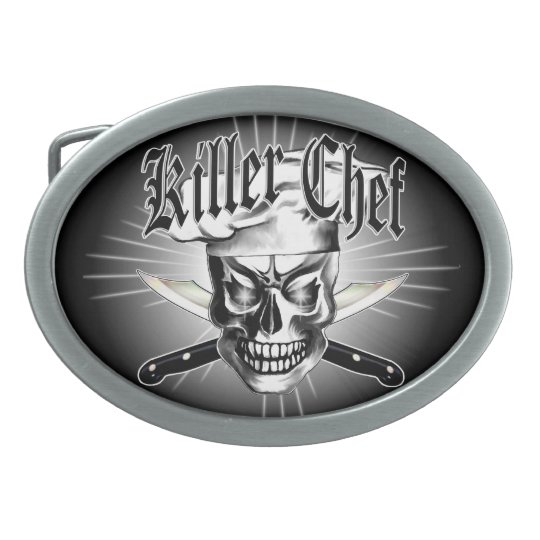 Chef Skull 3.1 Oval Belt Buckle