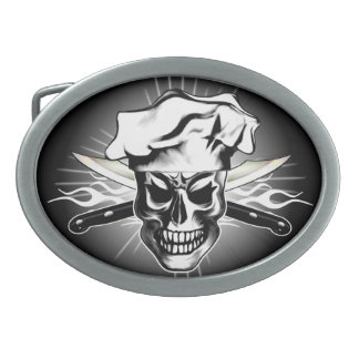Chef Skull 3 Oval Belt Buckle
