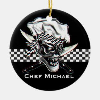 Chef Skull 5 Round Ceramic Decoration
