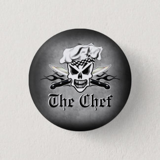 Chef Skull adn Flaming Chef Knives 2 3 Cm Round Badge