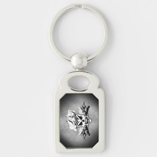 Chef Skull adn Flaming Chef Knives 2 Silver-Colored Rectangle Keychain
