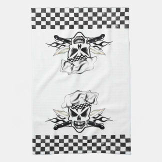 Chef Skull adn Flaming Chef Knives 2 Tea Towel