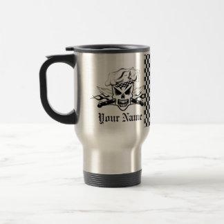 Chef Skull adn Flaming Chef Knives 2 Travel Mug