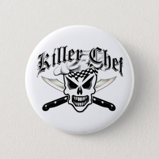 Chef Skull and Crossed Chef Knives 2 6 Cm Round Badge