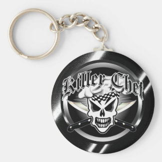 Chef Skull and Crossed Chef Knives 2 Key Ring