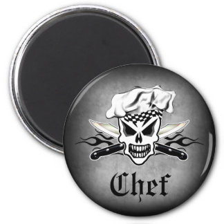 Chef Skull and Flaming Chef Knives 2 6 Cm Round Magnet
