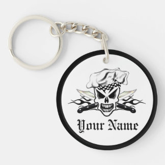 Chef Skull and Flaming Chef Knives 2 Double-Sided Round Acrylic Keychain