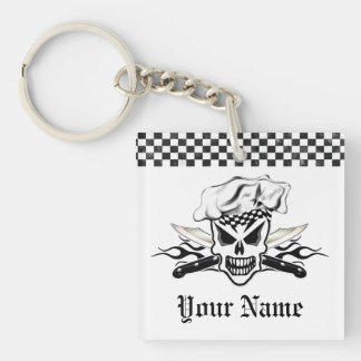 Chef Skull and Flaming Chef Knives 2 Double-Sided Square Acrylic Keychain