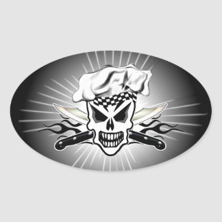 Chef Skull and Flaming Chef Knives 2 Oval Sticker