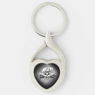 Chef Skull and Flaming Chef Knives 2 Silver-Colored Twisted Heart Keychain