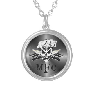 Chef Skull and Flaming Chef Knives 2 Round Pendant Necklace