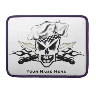 Chef Skull and Flaming Chef Knives 2 Sleeves For MacBooks