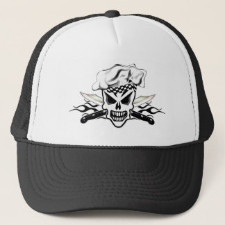 Chef Skull and Flaming Chef Knives 2 Trucker Hat